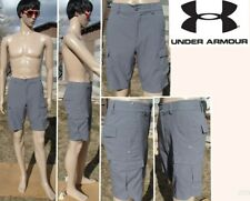 UNDER ARMOUR golf heat gear woven cargo shorts light gray quick dry mens xs 28