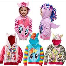 Kids Girls Hoodies My Little Pony Wing Sweater Sweatshirt Coat Zip Up Jackets