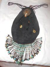Handmade Hippi Blk Suede Purse Glass Beads Stones Turquoise Fringe Handbag