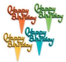 Happy Birthday Script Cursive cupcake picks (24) favor cake topper 2 doz
