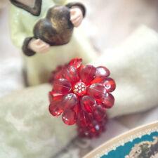 Divine Shabby Set Of 4 Red Acrylic Crystal Beaded Napkin Serviette Rings Holders