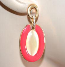 ORECCHINI donna ROSSO oro beige avorio pendenti ovali strass moda pendientes A19