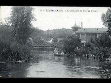 LA FERTE-ALAIS (91) BARQUE animée sur l'ESSONNE au PONT DE VILLIERS , début 1900
