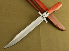New 12'' 440 Blade Survival Bowie Large Wood Handle Botton Lock Folding Knife 25