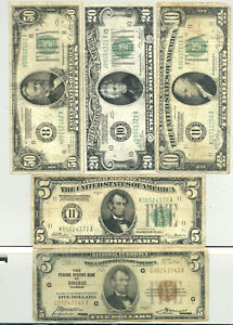 $5, $10, $20 and $50 Series 1928 gold-backed Federal Reserve Notes + $5 FRBN