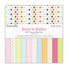 "BACK TO BASICS BRIGHT SPARK COLLECTION - Taster Pack of 6""x6"" Papers - Dovecraft"