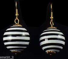 Chunky Black & White Stripe Ball Earrings CJE703