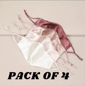 🌟PACK OF 4 Luxury Satin Silk Feel Soft Face Mask Covering Washable High Quality