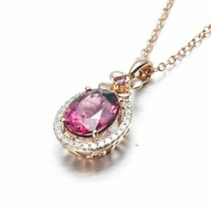 """1.25CT Pink Tourmaline Halo Pendant Necklace 14K Rose Gold Over with 18"""" Chain"""