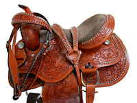TRAIL SADDLE WESTERN HORSE PLEASURE 16 15 FLORAL TOOLED LIGHT BROWN LEATHER TACK