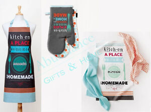 Good Food 6pc Contemporary Cotton Kitchen Set by Ladelle - Apron, Mitts, T/Towel