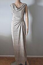 Lauren Ralph Lauren - Women Gold Metallic Evening Dress Gown Size 4 P