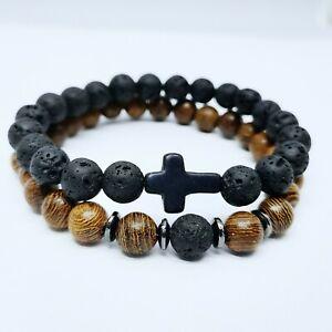 Cross Bracelets Wooden Lava Gemstone Stone Hematite Beads Jaguar Charm Men Women