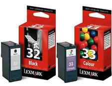 BOXED LEXMARK 32 BLACK + 33 COLOUR INK CARTRIDGES 2YR GTEE 1ST CLASS FASTPOSTAGE