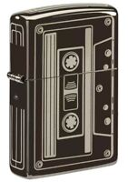 Zippo Cassette Design Black Ice Windproof Pocket Lighter, 150-081166