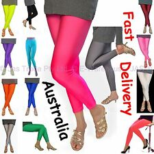 Footless Bright Neon Fluro 80s 70s Disco STRETCH Pants Metallic Leg Wear Tights