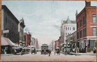 Joliet, IL 1908 Postcard: North Chicago Street / Downtown - Illinois Ill