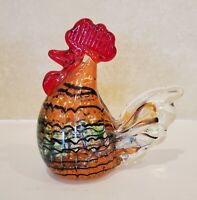 "Murano Style Art Glass Chicken Rooster Red Comb Hand Blown 5"" Gorgeous Design"