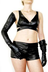 "lady 66cm(26.98"")long opera long real sheep leather shoulder long gloves black"