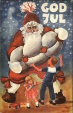 Swedish Christmas - Giant Santa Claus & Children GOD JUL Old Postcard jrf