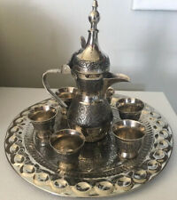 Nice Vintage 8 Pc Dallah Arabic Coffee Pot Serving Set EUC