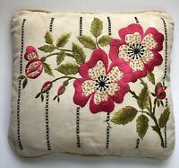 """VTG Handmade Pillow Embroidery Flowers Beige Pink Flowers 15""""x17"""" with Insert"""