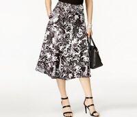 Grace Elements Womens A Line Linen Blend Midi Skirt White Black Jungle Print $70