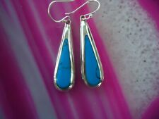 Teardrop Earrings Turquoise Sterling Silver