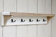 Wooden Coat Rack With Shelf  5 Coat Hooks Antique White