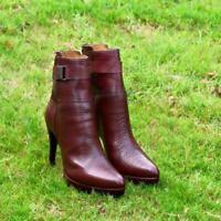 Womens Handmade Boots Fashion Party High Heel Crocodile Print Calf Leather Shoes