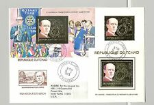 Chad 1983 Rotary Gold 1v & 1v Perf Deluxe S/S & 1v Imperf Deluxe S/S on 1v FDC