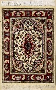 Rugstc 2x3 Senneh Pak Persian White Area Rug, Hand-Knotted,Floral with Wool Pile