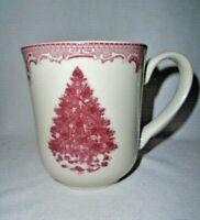 Johnson Brothers Pink Red Transferware Christmas Tree Coffee Mug Tea Cup 12 oz