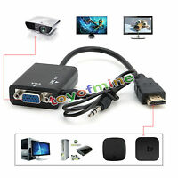 1080P Hdmi Macho A Vga con Adaptador Conversor de Audio Cable de vídeo HD para