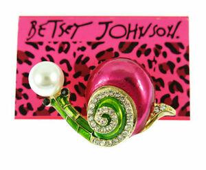 Signed Betsey Johnson - Pink Enamel Rhineston Lovely Snail Charm Brooch Pin