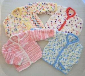 6 Months Baby Jacket Cardigan Hand Knitted Pink Blue Lemon Autumn Winter Chunky