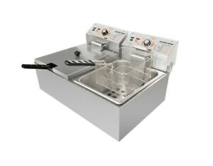New Stainless Steel Desk Top Double Tank Electric Commercial Deep Fat Fryer