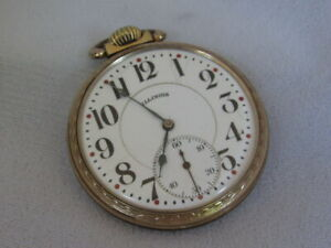 ILLINOIS 19 JEWEL 16s SIZE POCKET WATCH SERVICED RUNS GREAT ser 4055837