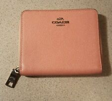 COACH BLUSH PINK ZIP AROUND SMALL WALLET MULTI GRAIN LEATHER