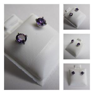 New Titanium Silver Cubic Zirconia Purple Round Stone Earring Set 4mm