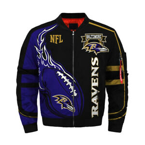 3D Mens Baltimore Ravens Jacket Ma1 Flight Bomber Thicken Coat Football Outwear