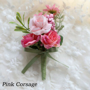 Wedding Bride Groom Corsage Artificial Rose Boutonniere Pin Party Prom Accessory