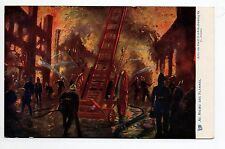 POMPIERS carte postale illustrée raphael TUCK les pompiers au milieu des flammes