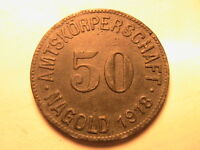 1918 GERMANY 50 Pfennig Nagold Notgeld Ch XF German Empire Fifty Pfennig Coin
