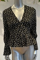 Wednesdays Girl Tea Blouse Top Size 8,12,18 & 22 Black In Ditsy Leaf Print GM78