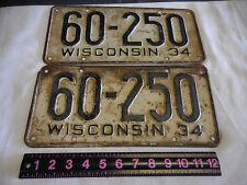 1934 Wisconsin passenger car license plate pair