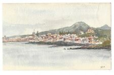 More details for azores view of ponte delgada - original watercolour painting on card c1909
