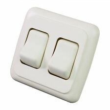 Double 2 Gang On-Off 12v Almond Light Switch -RV Camper Trailer Marine Boat 12 V