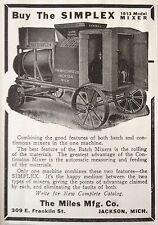 ANTIQUE 1913 AD(F6)~MILES MFG. CO. JACKSON, MICH. SIMPLEX 1913 MODEL MIXER