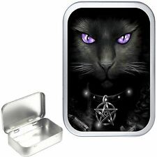 WITCHES CAT SILVER HINGED 1oz TOBACCO TIN, 50ml TOBACCO TIN,PILL BOX
